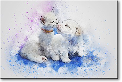 White Cat and Dog Picture on Stretched Canvas, Wall Art Decor, Ready to Hang