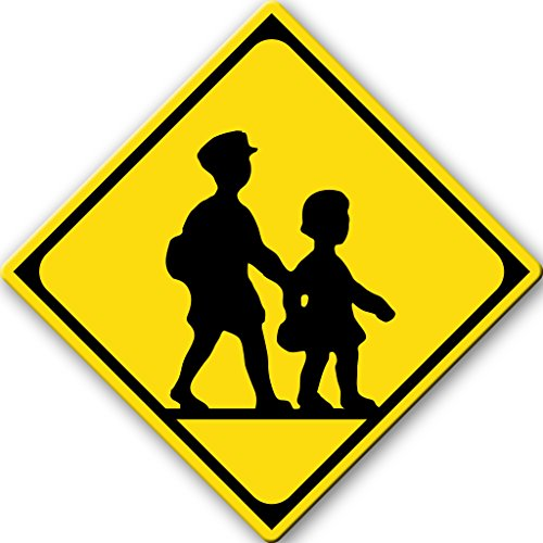 Children Crossing Sign Picture on Stretched Canvas, Wall Art Décor, Ready to Hang!