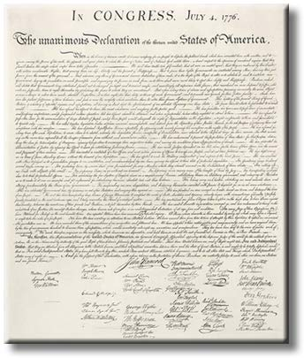 Declaration of Independence United States Continental Congress Picture on Stretched Canvas, Wall Art Decor, Ready to Hang
