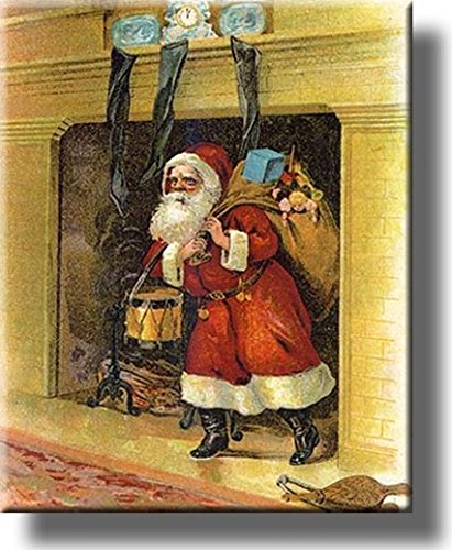 Santa's Arrival Through the Chimney on Stretched Canvas, Wall Art Decor, Ready to Hang!