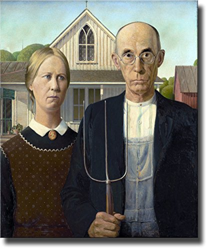 American Gothic Farmer Painting By Grant Picture on Stretched Canvas , Wall Art Decor Ready to Hang!.