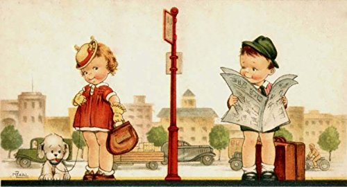 Boy and Girl at Bus Station Vintage Picture on Stretched Canvas, Wall Art Décor, Ready to Hang!