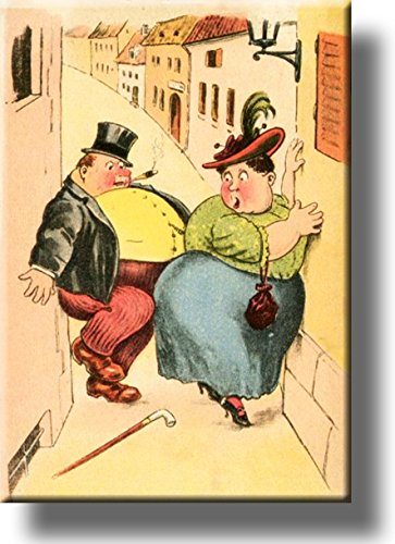 Too Fat to Pass Vintage Comic Picture on Stretched Canvas, Wall Art Décor, Ready to Hang!
