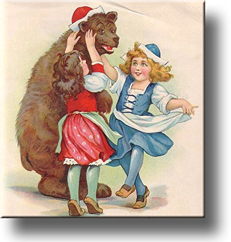 Bear and Girls by Frances Brundage Picture on Stretched Canvas, Wall Art Decor, Ready to Hang!