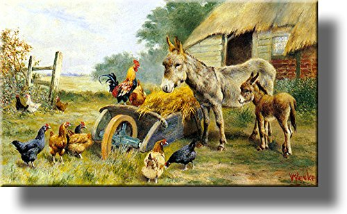 Donkey Mule Chicken Farm Kitchen Picture on Stretched Canvas, Wall Art Décor, Ready to Hang!