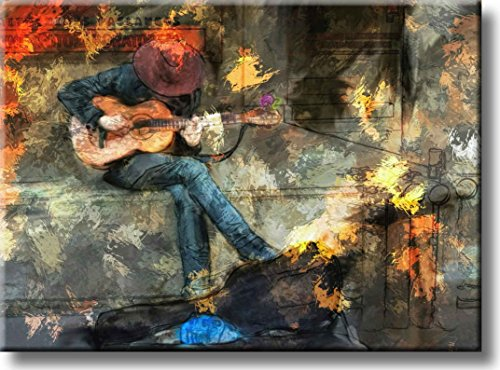 Street Guitar Player Art Picture on Stretched Canvas, Wall Art Décor, Ready to Hang