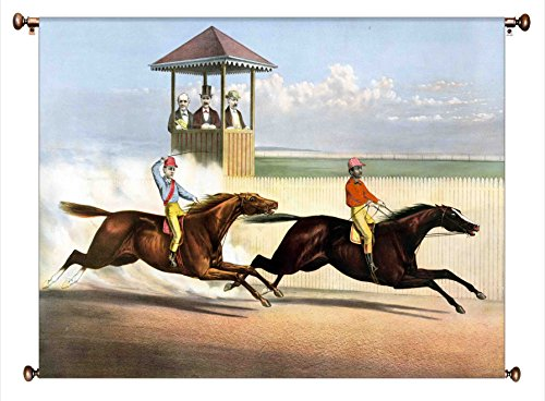 Horse Race Vintage Picture on Large Canvas Hung on Copper Rod, Ready to Hang, Wall Art Décor
