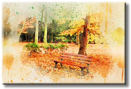 Fall Park Bench Painting, Picture on Streched Canvas, Wall Art Décor, Ready to Hang