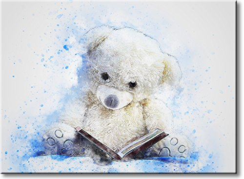 Teddy Bear Bedtime Story Picture on Stretched Canvas, Wall Art Decor, Ready to Hang