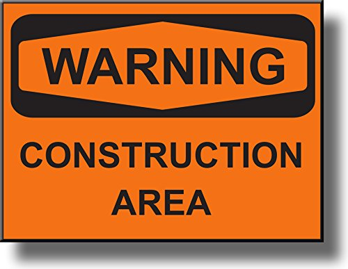 Warning Construction Area Sign Picture on Stretched Canvas, Wall Art Décor, Ready to Hang!