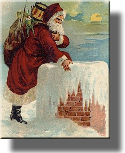 Santa Claus Coming Down the Chimney, Christmas Greeting Picture on Stretched Canvas, Wall Art Décor, Ready to Hang!