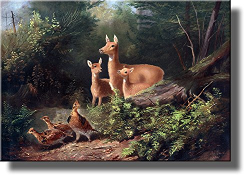 Deer, Pheasant Birds in the Forest Wall Picture on Stretched Canvas, Wall Art Decor Ready to Hang!.