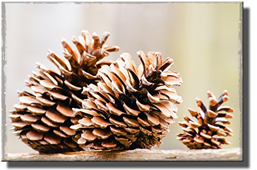 Autumn Pine Cone Picture on Stretched Canvas, Wall Art Décor, Ready to Hang!.