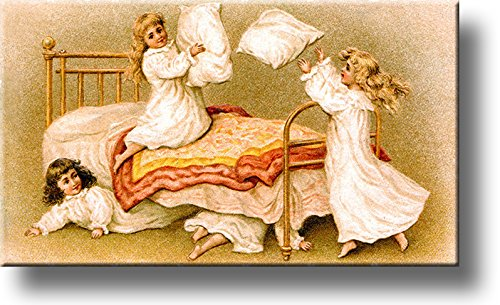 Girls Pillow Fight Picture on Stretched Canvas, Wall Art Décor, Ready to Hang!