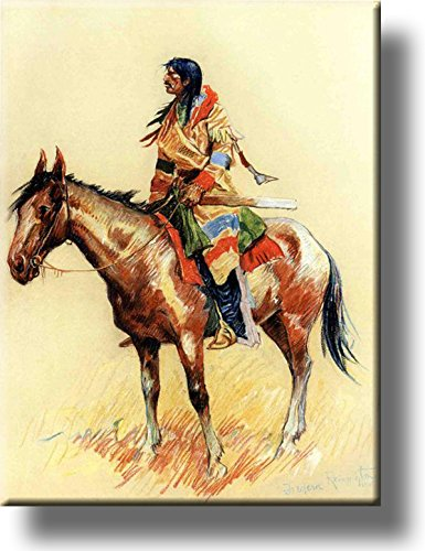 A Breed Indian on Horse Picture on Stretched Canvas, Wall Art Decor, Ready to Hang!