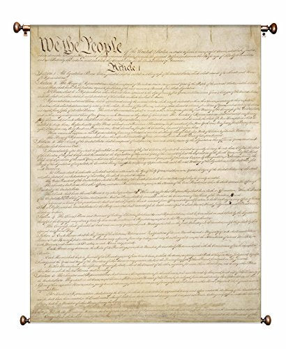 Original Written Constitution Picture on Canvas Hung on Copper Rod, Ready to Hang, Wall Art Décor