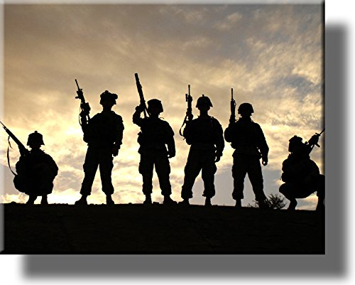 Salute to US Soldiers Picture on Stretched Canvas, Wall Art Decor, Ready to Hang!