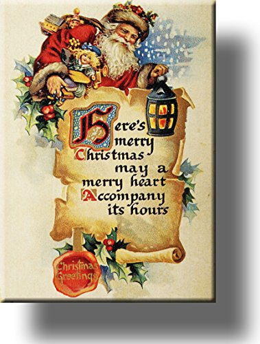 Here's Merry Christmas and Santa Clause Picture on Stretched Canvas, Wall Art Décor, Ready to Hang!