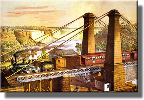 Old Steam Train Picture over Niagra Falls Picture Made on Stretched Canvas Wall Art Decor Ready to Hang!.
