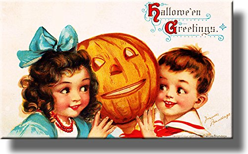 Halloween Boy and Girl with Pumpkin Picture on Stretched Canvas, Wall Art Décor, Ready to Hang!