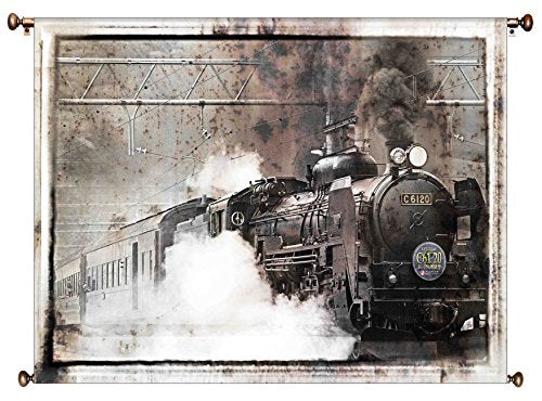Steam Engine Train Picture on Large Canvas Hung on Copper Rod, Ready to Hang, Wall Art Décor