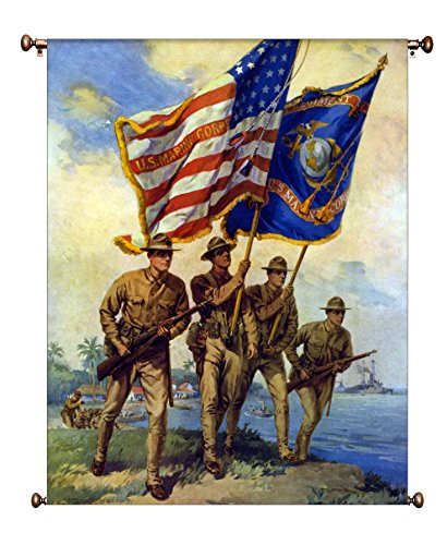 US Marine Corp Picture on Large Canvas Hung on Copper Rod, Ready to Hang, Wall Art Décor