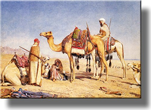 People and Camels Picture on Stretched Canvas, Wall Art Décor, Ready to Hang!