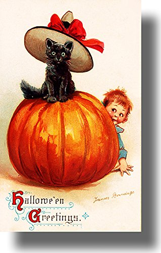 Halloween Black Cat in a Hat on Pumpkin Picture on Stretched Canvas, Wall Art Décor, Ready to Hang!