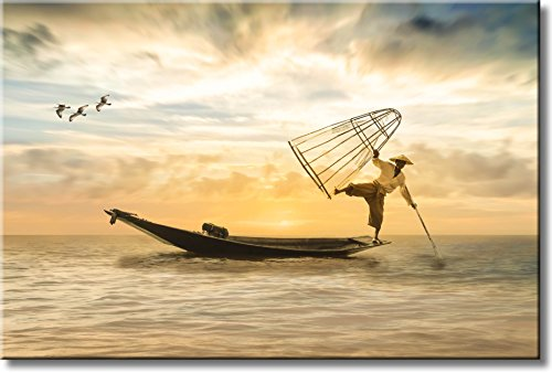 On the Edge of Boat, Sea Picture on Stretched Canvas, Wall Art Decor, Ready to Hang