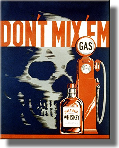 Gas and Whiskey, Don't Mix 'em Vintage Picture on Stretched Canvas, Wall Art Décor, Ready to Hang!
