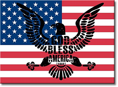God Bless America, American Flag and Eagle Picture on Stretched Canvas, Wall Art Décor, Ready to Hang