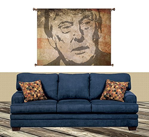 Vintage Donald Trump Picture on Canvas Hung on Copper Rod, Ready to Hang, Wall Art Decor