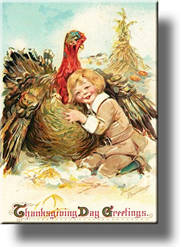 Boy Hugging Thanksgiving Turkey by Brundage, Picture on Stretched Canvas Wall Art Décor, Ready to Hang!