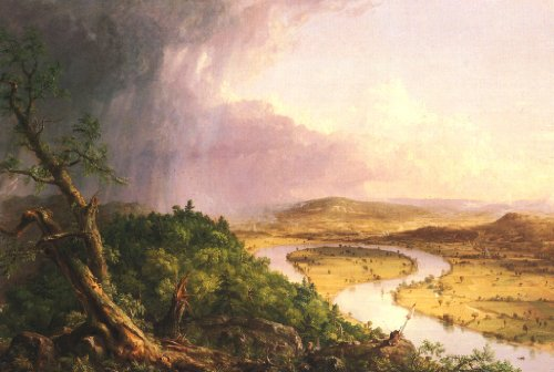 The View From Mount Holyoke, The Oxbow by Thomas Col on Stretched Canvas, Wall Art Decor Ready to Hang!.