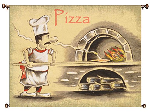 Pizza Maker Picture on Canvas Hung on Copper Rod, Ready to Hang, Wall Art Decor