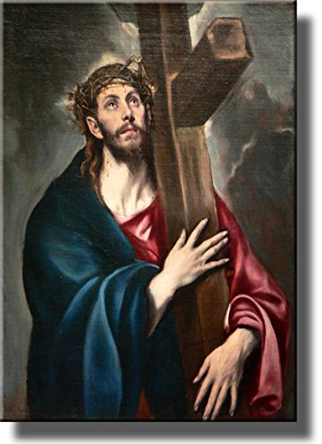 Jesus Christ Carrying the Cross by El Greco Wall Art Picture on Stretched Canvas, Ready to Hang!