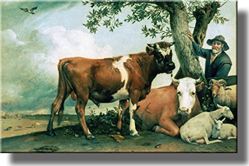 Farmer with Cows and Sheep by Potter, Picture on Stretched Canvas, Wall Art Décor, Ready to Hang!