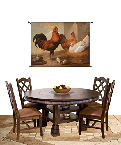 Rooster and Chicken Painting Picture on Canvas Hung on Copper Rod, Ready to Hang, Wall Art Décor