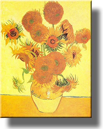 Vase and Fifteen Sunflowers Painting by Vincent van Gogh Picture on Stretched Canvas, Wall Art Décor, Ready to Hang!
