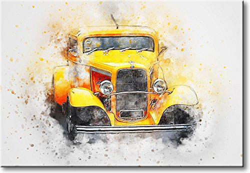 Vintage Yellow Classic Car Picture on Stretched Canvas, Wall Art Décor, Ready to Hang