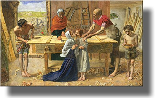 Christ in the House of His Parents 'The Carpenter's Shop' Picture on Stretched Canvas, Wall Art Décor, Ready to Hang!