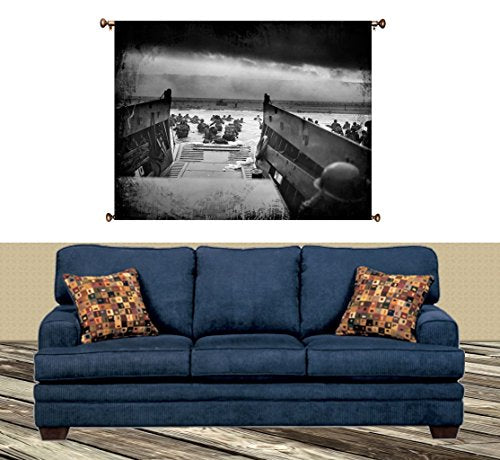 WWII Normandy Picture on Canvas Hung on Copper Rod, Ready to Hang, Wall Art Décor