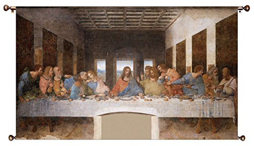 The Original Last Supper by Leonardo da Vinci Picture on Large Canvas Hung on Copper Rod, Ready to Hang, Wall Art Décor
