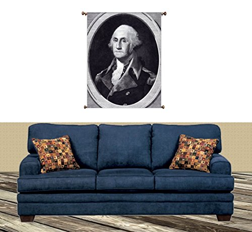 George Washington Portrait Picture on Canvas Hung on Copper Rod, Ready to Hang, Wall Art Décor