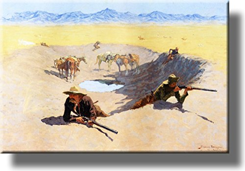 A Fight for the Water Hole Picture on Stretched Canvas, Wall Art Décor, Ready to Hang!