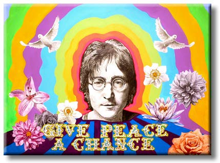 John Lennon - Give Peace A Chance Picture on Stretched Canvas, Wall Art Décor, Ready to Hang