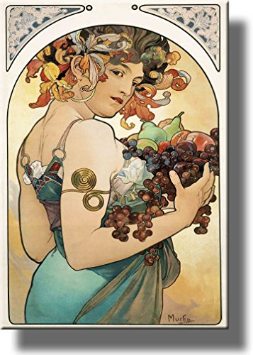 Woman with Fruits Vintage Picture on Stretched Canvas, Wall Art Décor, Ready to Hang!.