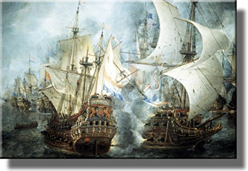 Sea Ship Battle Picture on Stretched Canvas, Wall Art Décor, Ready to Hang!