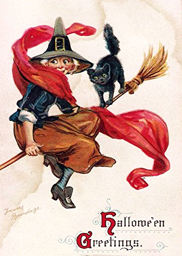 Witch and Cat on a Broom Halloween Greetings by Brundage, Picture on Stretched Canvas, Wall Art Décor, Ready to Hang!