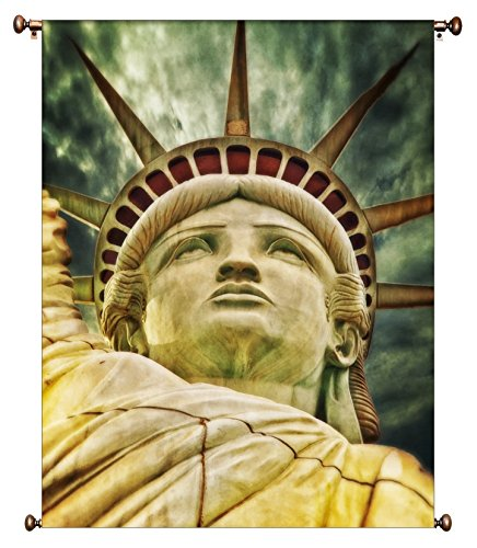 Statue of Liberty Picture on Canvas Hung on Copper Rod, Ready to Hang, Wall Art Décor